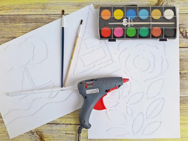 festés ragasztóval