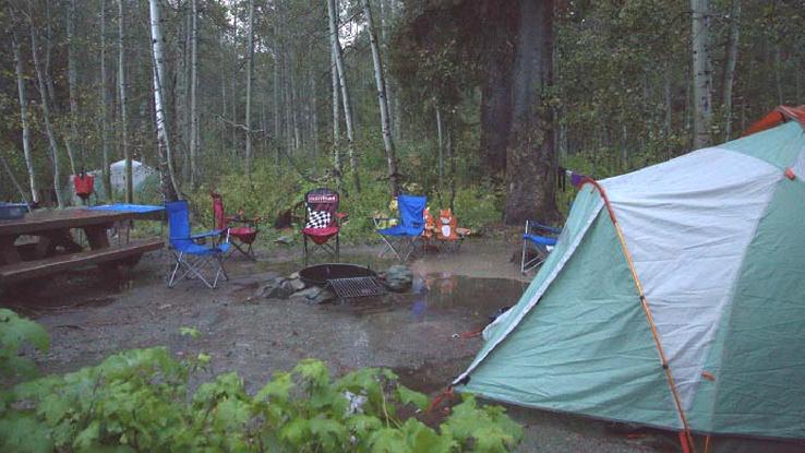 rainy camping